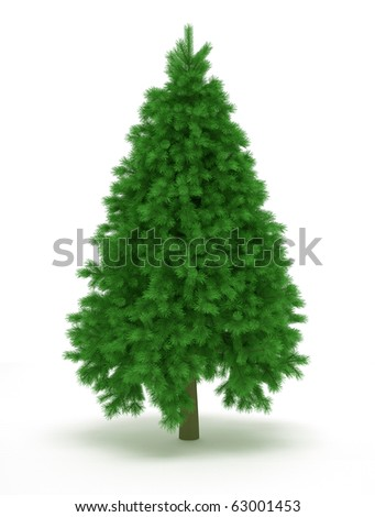 Undecorated christmas tree over white - 3d render illustration - stock photo