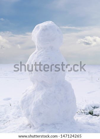 Undecorated snowman in winter landscape - stock photo