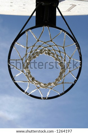 Under a basketball hoop. - stock photo