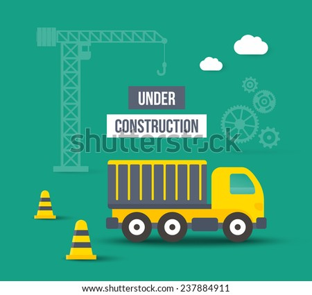 Under construction. Background in flat style. Concept of city building - stock photo
