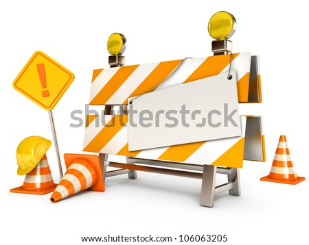 Under construction barrier. Blank sheet. Traffic cones. Road sign. Construction Helmet. Isolated on white background. 3d render - stock photo