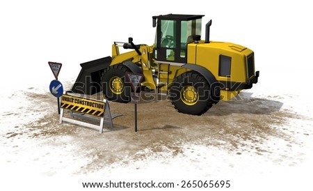 under construction barrier street in front wheel loader bulldozer separated on white background