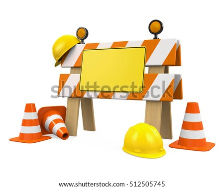 Under Construction Barrier, Traffic Cones and Safety Helmet. 3D rendering