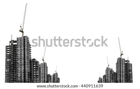 Under construction buildings with tower crane with copy space, isolated on white background - stock photo