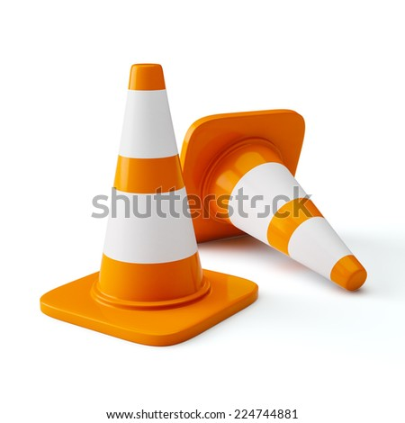 Under construction concept design background - orange highway traffic construction cones with white stripes isolated on white - stock photo