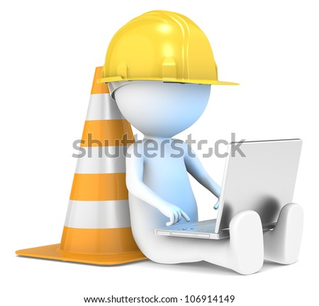 Under Construction. 3D little human character The Builder sitting with a Laptop. Illuminative blue screen. People series. - stock photo