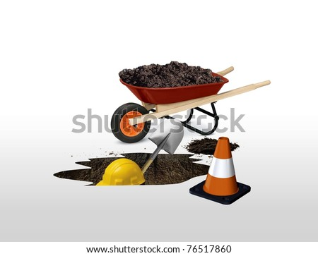 under construction digger worker - stock photo