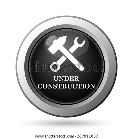 Under construction icon. Internet button on white background.  - stock photo