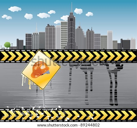 Under construction illustration with city details Europe - stock photo