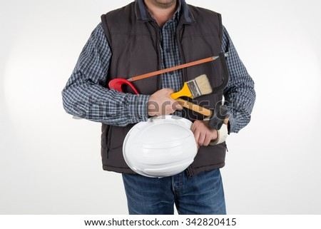 Under construction - man holding a white helmet isolated - stock photo