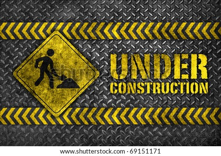 under construction metal sign - stock photo