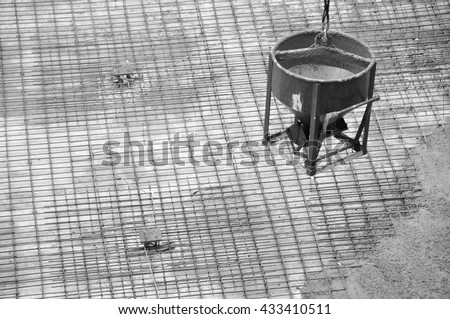 Under-construction of concrete building on top slab  ground floor plan at the construction site. - stock photo