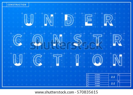 Architectural sketches q r s t vectores en stock 547282486 under construction phrase scheme in blueprint style with marks malvernweather Image collections