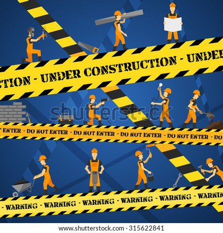 Under construction poster with workmen and yellow restriction line  illustration - stock photo