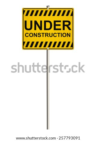 Under construction. Road sign. Raster. - stock photo