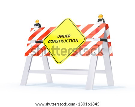 under construction sign for use in presentations, manuals, design, etc. - stock photo