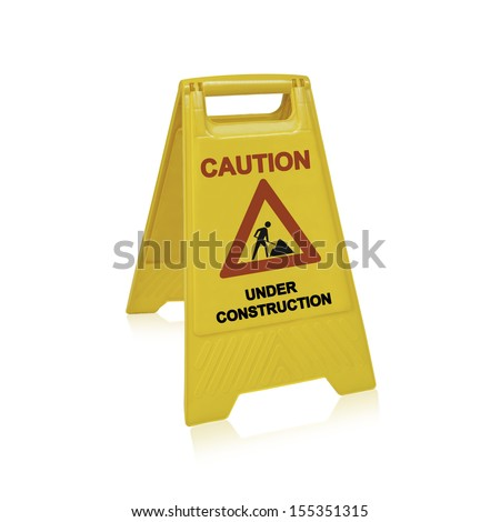 Under construction sign for website design,  (with clipping work path) - stock photo