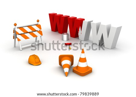 under construction sign  illustration isolated in white. - stock photo