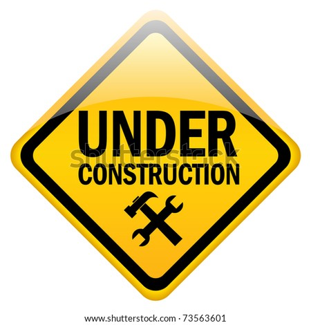 Under construction sign isolated on white - stock photo