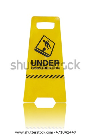 under construction sign isolated on white background with clipping path easy to use.