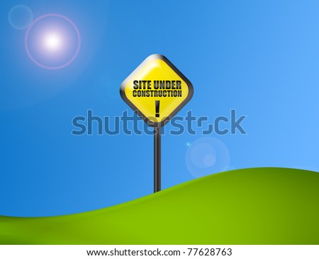 under construction sign over green and blue background