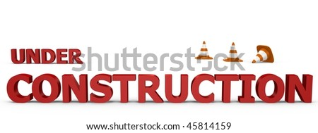Under Construction sign with traffic cones - 3d image - stock photo