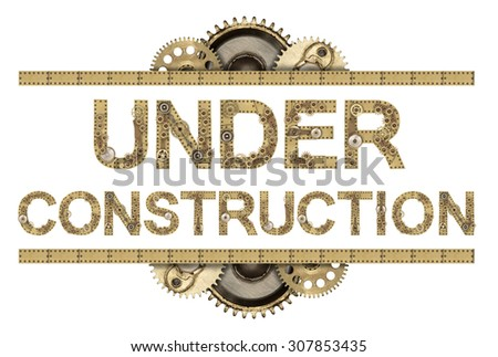 Under construction. Steampunk mechanical metal alphabet - stock photo