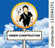 Under Construction Street Sign With The Technician Icon Stand in Blue Sky Background - stock photo