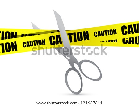 under construction tape with scissor illustration design over white - stock photo
