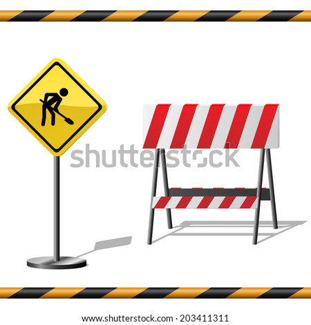Under construction template with warning road sign, barrier and seamless striped tubes. - stock photo