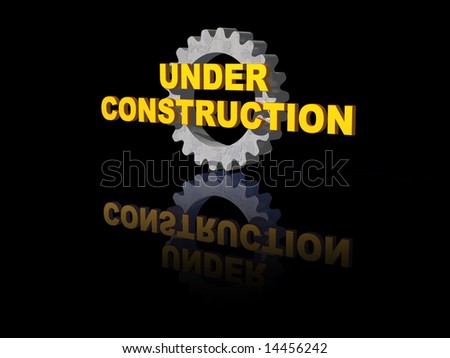 under construction text and gearwheel on black background - 3d illustration - stock photo