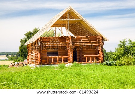 Under construction wooden construction in countryside - stock photo