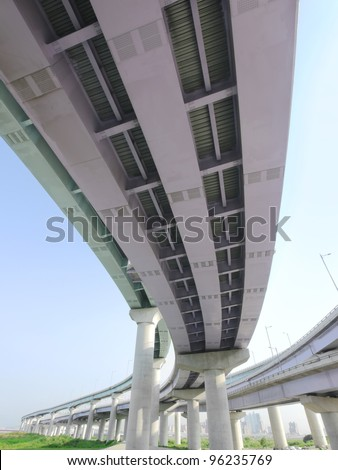 Under elevated road - stock photo