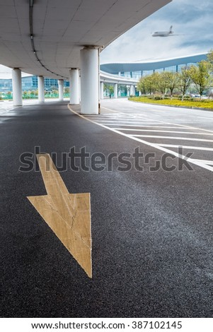 under elevated road linking the highway with the airport background - stock photo