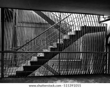 Under exposure image of underground staircase in the metro station