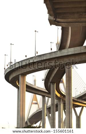 under expressway many routes overlap - stock photo