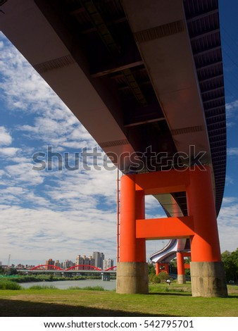 Under extend viaduct at Riverside,Taipei city,Taiwan