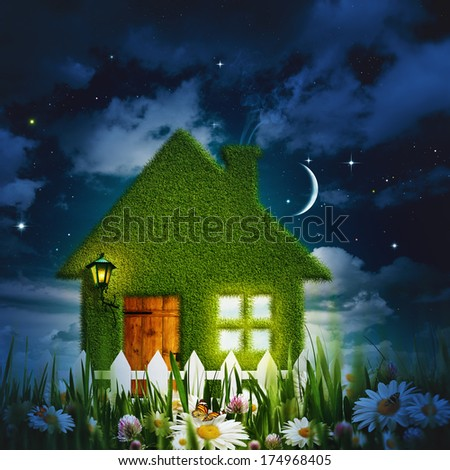 Under moonlight, abstract environmental backgrounds for your design - stock photo