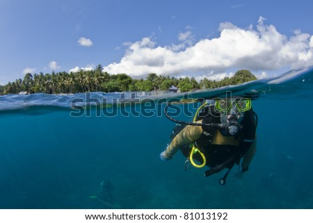 Under-over shot of a Female diver swimming at the surface with palm trees in the background - stock photo