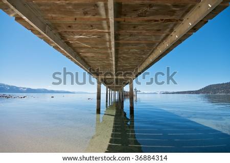 Under Pier at Lake Tahoe - stock photo