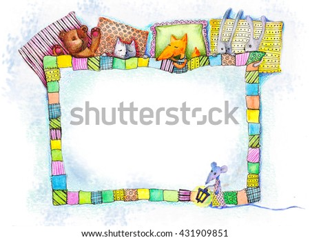 Under the blanket photo frame. Watercolor painting of sweet baby animals sleeping under the big blanket. The illustration is made as a frame. - stock photo