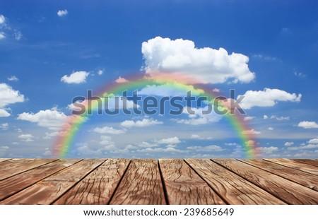 Under the blue sky,platform old wood  - stock photo
