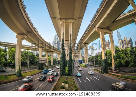 under the elevated road in shanghai - stock photo