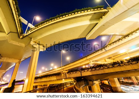 under the elevated road in shanghai