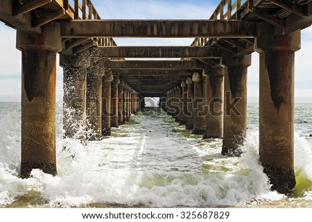 Under the jetty in Swakopmund, Namibia - stock photo