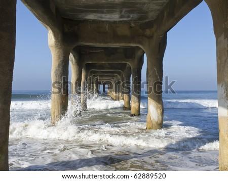 Under the pier at Manhattan Beach, California - stock photo