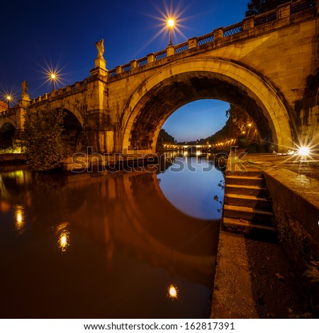 Under the Saint Angel Bridge at Dawn, Rome, Italy - stock photo