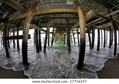 Under the San Clemente Pier Fish Eye - stock photo