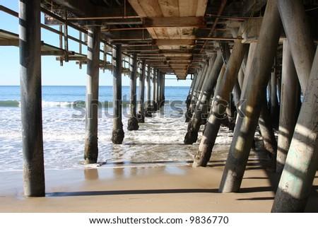 Under the Santa Monica Pier in Southern California - stock photo