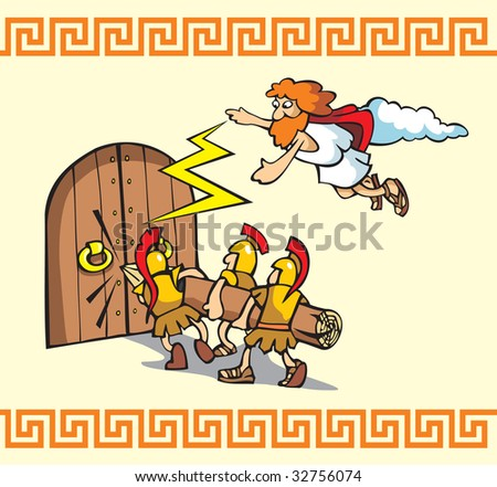 Under the siege! Scene from Trojan war, Greek warriors breaking the gates, one of the Gods helps them, cartoon illustration - stock photo